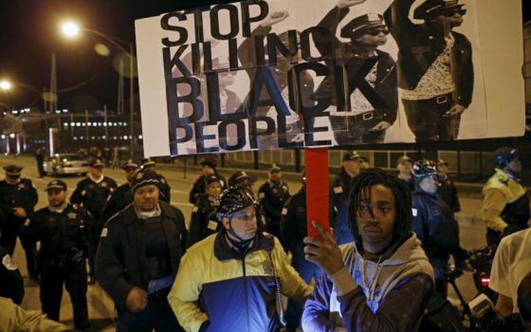 Protesto recente em Baltimore contra a violência policial.