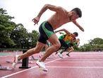 Petrúcio treina com a equipe de atletismo em Hamamatsu, no Japão.