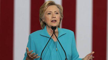 Hillary Clinton durante um discurso de campanha em 25 de agosto.
