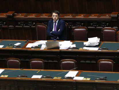 O primeiro-ministro italiano, Matteo Renzi, no Parlamento, em fevereiro, quando superou um voto de confiança.