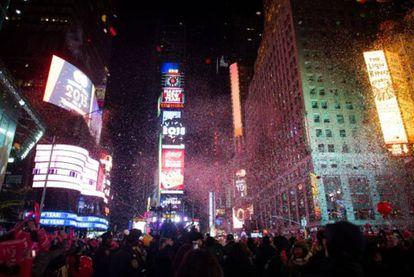 Comemoração da chegada do Ano Novo de 2015 em Nova York.