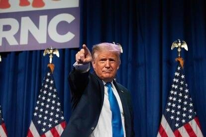 O presidente Trump, no primeiro dia da Convenção Republicana.