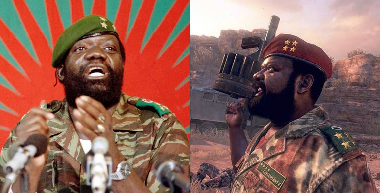 O rebelde angolano Jonas Savimbi e seu personagem no game.