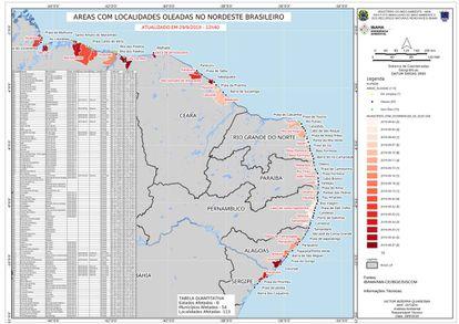 Mapa das praias contaminadas por óleo no litoral brasileiro.
