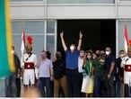 Brazil's President Jair Bolsonaro gestures during a protest against the President of the Chamber of Deputies Rodrigo Maia, Brazilian Supreme Court, quarantine and social distancing measures, amid the coronavirus disease (COVID-19) outbreak, in Brasilia, Brazil May 17, 2020. REUTERS/Adriano Machado