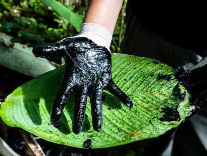 Mão manchada de petróleo: parte do tour que tem como objetivo mostrar aos visitantes os enormes danos que empresas petrolíferas causaram ao meio ambiente