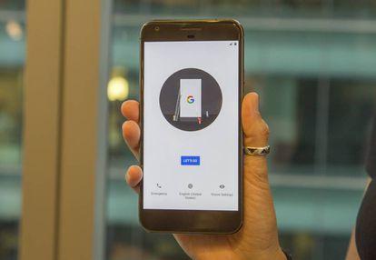Parte da frente do Google Pixel.