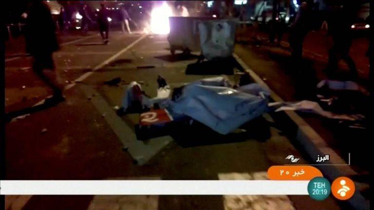 Imagem de um vídeo dos distúrbios na província de Alborz (Irã)