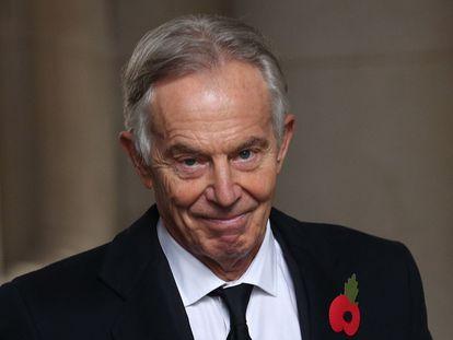 O ex-primeiro-ministro britânico Tony Blair após uma missa pelo Dia da Lembrança, em 8 de novembro, em Londres.