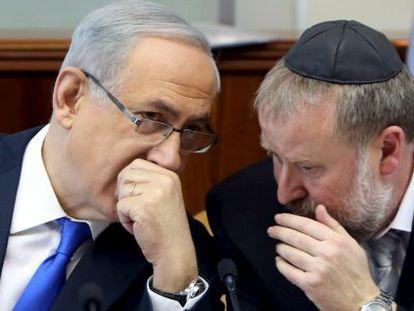 Benjamín Netanyahu, durante uma reunião do Governo israelense.