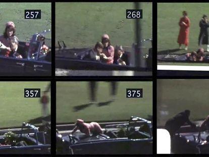 Seis fotogramas do assassinato do ex-presidente dos EUA John Kennedy, filmado por Abraham Zapruder, em 22 de novembro de 1963.