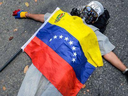 Protesto nas ruas de Caracas.