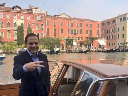 O prefeito João Dória em Veneza, no final de 2017.