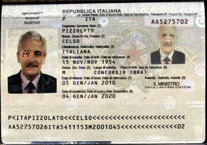 Passaporte usado por Pizzolato, de seu irmão, Celso.