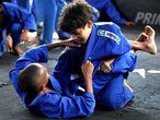 Projeto social de jiu-jitsu para crianças em Salvador, na Bahia.