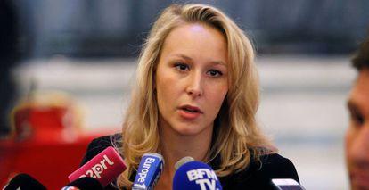 Marion Marechal na sede da FN em Paris.