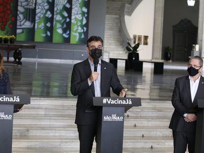 O vice-governador de São Paulo, Rodrigo Garcia, durante coletiva de imprensa para atualização sobre o combate ao coronavírus.