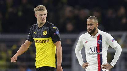 Haaland e Neymar, autores dos gols no jogo de ida em Dortmund.