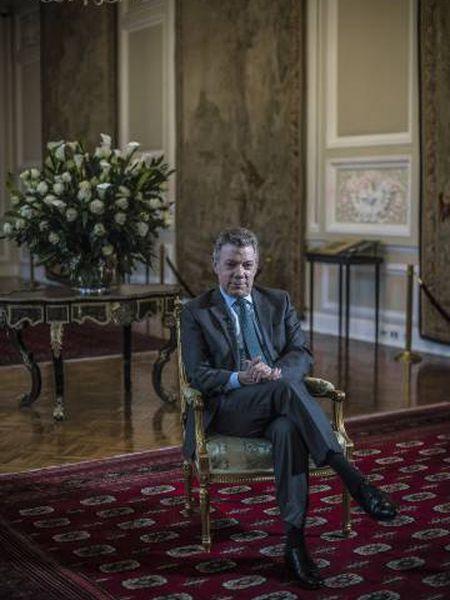 O presidente da Colômbia, Juan Manuel Santos, na Casa de Nariño