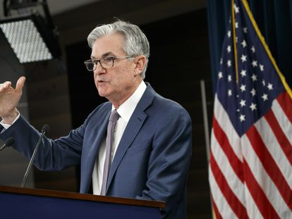 Jerome Powell, presidente do Fed, no anúncio sobre a taxa de juros em março.