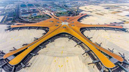 Vista aérea do aeroporto de Pequim-Daxing.