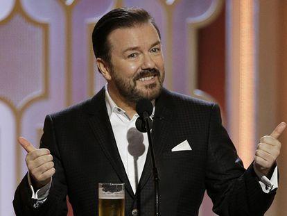 Ricky Gervais em seu monólogo inicial.