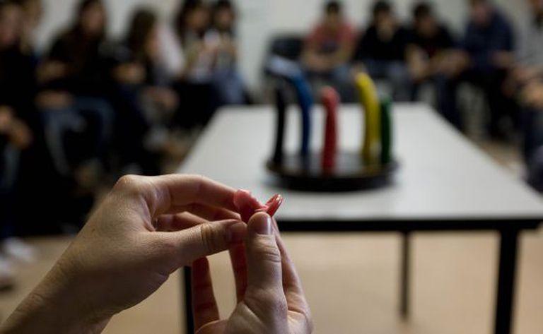 Uma aula de educação sexual em um colégio de Barcelona.