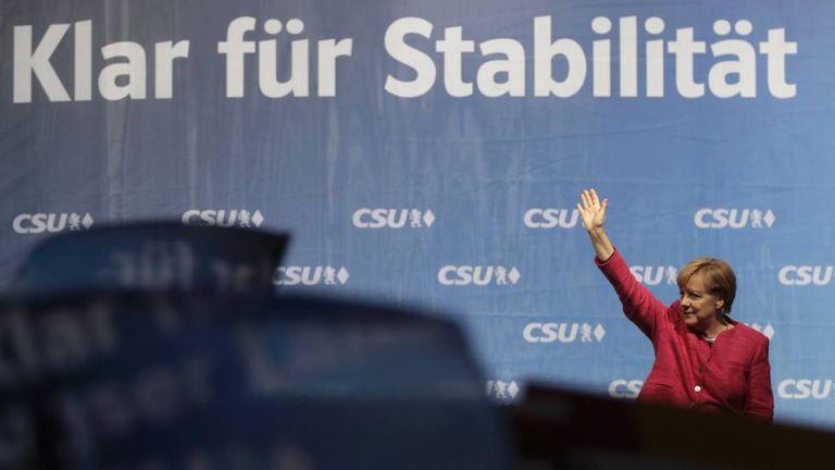 Angela Merkel durante comício