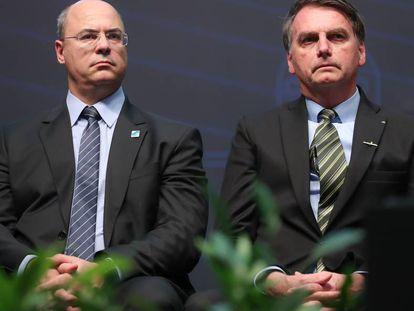 Witzel e Bolsonaro participam de cerimônia de integração do submarino Humaitá, no dia 11 de outubro.