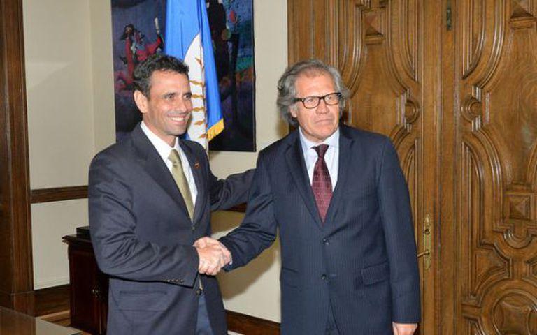Henrique Capriles e Luis Almagro em sua reunião na OEA