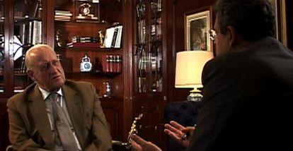 João Havelange e o jornalista Ernesto Rodrigues em 'Conversas com JH'.