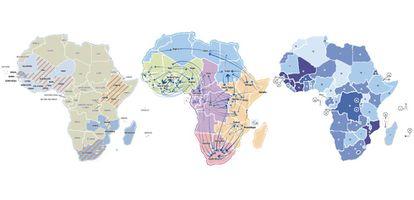 Amostras de mapas do atlas 'África em Movimento'.