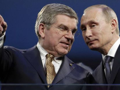 Presidente do COI com Vladimir Putin em, 2014