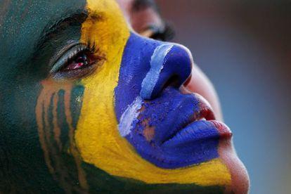 Uma torcedora brasileira em Brasília.