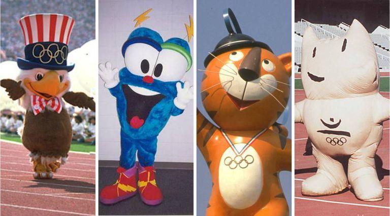 Sam, Izzy, Hodori e Cobi (mascotas dos Jogos Olímpicos de Los Angeles, Atlanta, Seul e Barcelona).
