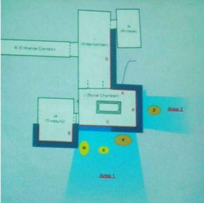As letras W e X representam os ecos de metal; o Y e o Z, sinais de matéria orgânica. Em azul, os espaços vazios que corresponderiam às novas câmaras.