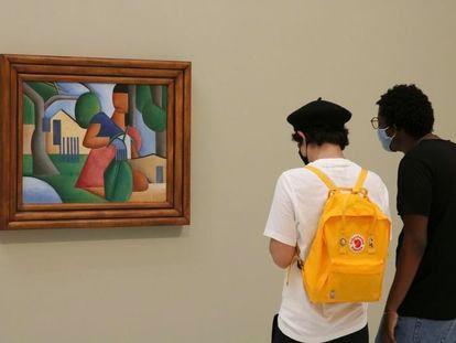 Obra 'A caipirinha', exposta na galeria Bolsa de Arte antes de ser leiloada por decisão judicial.