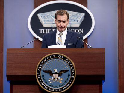 O porta-voz do Pentágono, John Kirby, durante uma coletiva de imprensa nesta quinta-feira.