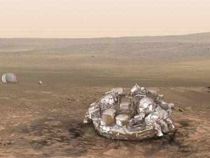 Reconstituição do módulo 'Schiaparelli' em Marte.