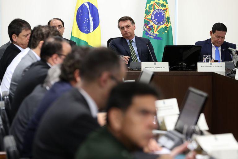 Jair Bolsonaro em videoconferência com governadores do Sudeste nesta quarta-feira.    25/03/2020 ONLY FOR USE IN SPAIN