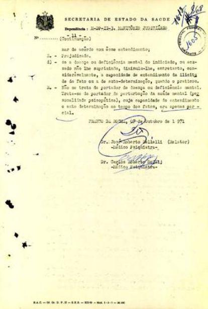 """Conclusão do laudo psiquiatríco realizado em Aladino Felix, também conhecido como """"Sabado Dinotos"""", durante o período em que esteve preso."""