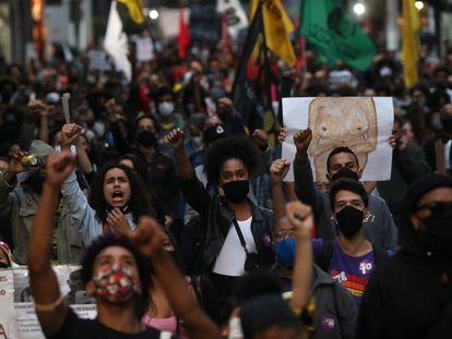 Marcha em São Paulo em novembro em protesto contra o assassinato de João Alberto Freitas em supermercado do Carrefour.