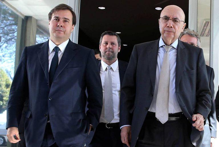 O presidente da Câmara, Rodrigo Maia, e o ministro da Fazenda, Henrique Meirelles.