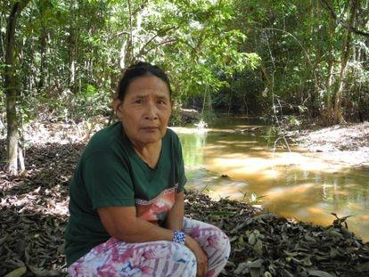 Rita Piripkura na terra indígena de seu povo no Mato Grosso.