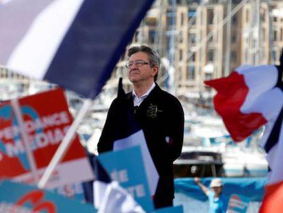 Jean-Luc Mélenchon durante um comício em Marselha, na quarta-feira.