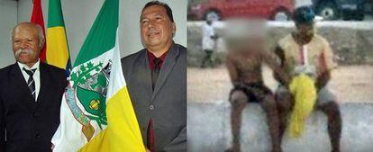 O técnico Ivanildo Nunes (à esq.) recebeu homenagem em Arapiraca após ter sido flagrado molestando um garoto em um campo de futebol.