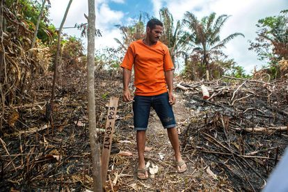 O ribeirinho Weides Alves Dutra na terra que o colocaram, no reservatório, e que ele renega por falta de condições para viver no local.