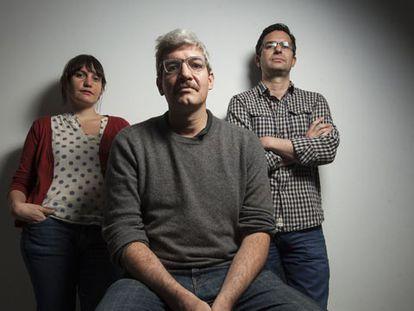 Os escritores Laia Jufresa, Emiliano Monge e Nicolás Cabral.
