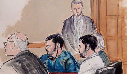 Ilustração que retrata o julgamento de Efraín Campos e Francisco Flores.
