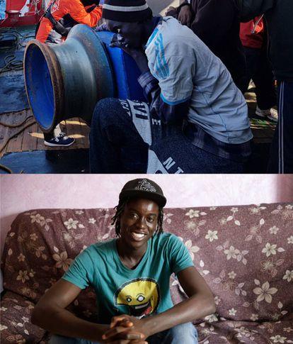 Diokel, um jovem senegalés de 19 anos, foi resgatado pelo pesqueiro 'Nossa Mãe Loreto'.